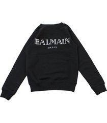 balmain black cotton raised logo sweatshirt