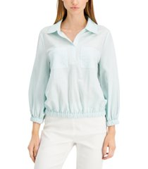 alfani petite printed blouson top, created for macy's