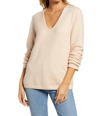 women's treasure & bond v-neck sweater, size medium - pink