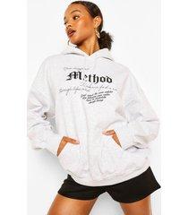 method oversized hoodie, grijs gemêleerd