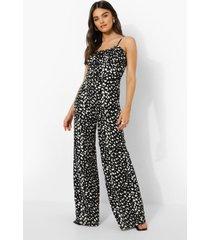 wide leg dalmatiër print jumpsuit, black