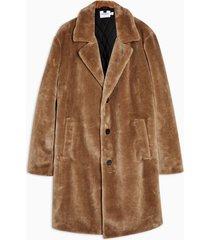 mens stone single breasted faux fur coat