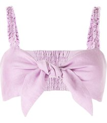 venroy tie knot bandeau cropped top - purple