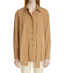 akris tie neck a-line cotton & silk poplin blouse, size 10 in cardboard at nordstrom