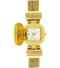 charter club women's gold-tone crystal multi-chain flip watch 18mm, created for macy's