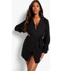 blazer jurk met geplooide mouwen en ceintuur, black