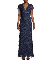 carmen marc valvo infusion women's 3d floral mermaid gown - navy - size 8
