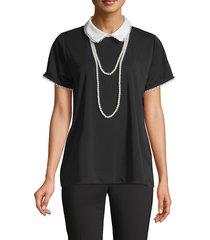 karl lagerfeld paris women's peter pan collar short-sleeve top - black - size xs
