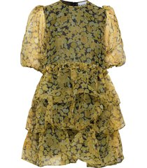 organza korte jurk geel ganni