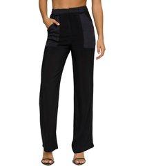 women's good american semi sheer trousers, size 0 - black