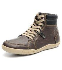 sapatênis shoes grand boston cano médio em couro café