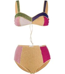 colorblock balconette high waited bikini