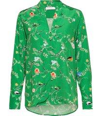 blouse in birdprint blouse lange mouwen groen coster copenhagen