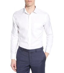 men's big & tall nordstrom smartcare(tm) trim fit solid dress shirt, size 18.5 36/37 - white