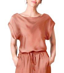 women's light codes cuffed tie tunic, size x-small - orange