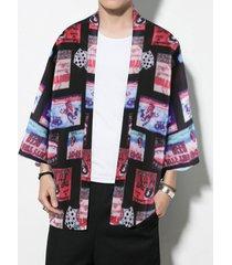chaqueta de punto con estampado de dibujos animados de estilo kimono japonés para hombre