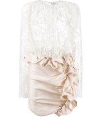 magda butrym ruffle trim mini dress - white