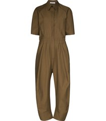 lvir short-sleeve straight-leg jumpsuit - brown