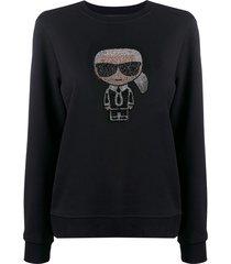 karl lagerfeld ikonik rhinestone karl sweatshirt - black