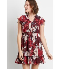 maurices womens burgundy floral button front smocked waist tiered mini dress