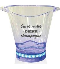 balde de gelo com led personalizado save water drink champagne - incolor - dafiti
