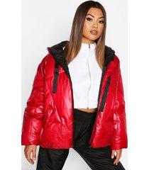 oversized high shine puffer jacket, red