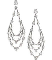 adriana orsini women's rhodium-plated sterling silver & crystal drop earrings