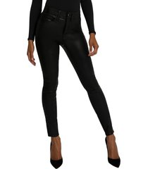 women's good american good legs coated ankle skinny jeans, size 12 - black