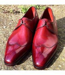 handmade men derby shoes, men red color dress shoes, men formal shoes