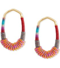 kendra scott 14k gold-plated multicolor paracord-wrapped open frame drop earrings
