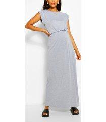 maternity cap sleeve shirred waist maxi dress, grey