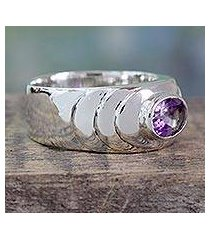 amethyst band ring, 'purple splash' (india)