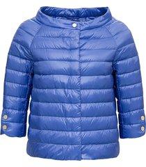 herno light blue down jacket with boat neckline