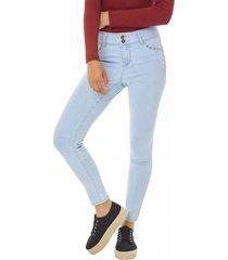jeans skinny push up detalle mujer azul claro corona