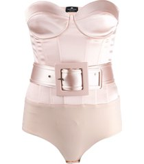 elisabetta franchi fitted belted body - neutrals