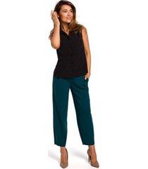 blouse style s172 mouwloos shirt - zwart