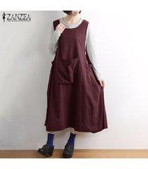 zanzea mujeres feas llamarada básico sin mangas vestido de tirantes vestido largo los delantales midi (no incluye la camisa) -rojo