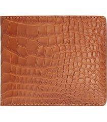 'hipster' alligator leather bi fold wallet