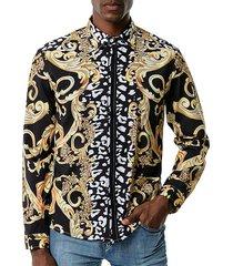 baroque animal print button up leisure shirt