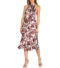 adrianna papell halter satin midi dress, size 2 in burgundy multi at nordstrom