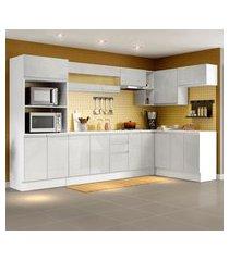 cozinha completa 100% mdf madesa smart modulada de canto - frentes branco brilho branco
