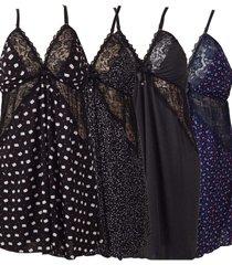 kit 4 camisolas plus size vip lingerie em liganete multicolorido