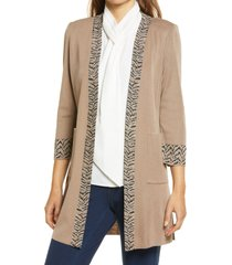 ming wang open front knit jacket, size large in java/twig/black at nordstrom