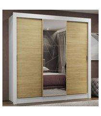 guarda-roupa casal madesa lyon plus 3 portas de correr com espelho 4 gavetas - branco/carvalho marrom