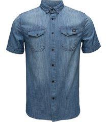 dragway s/s denim shirt overhemd met korte mouwen blauw superdry
