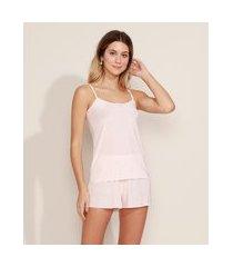 pijama de liganete feminino estampado floral regata alças finas rosa claro