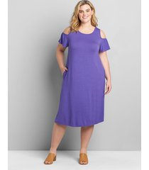 lane bryant women's cold-shoulder swing dress dress 34/36 purple opulence