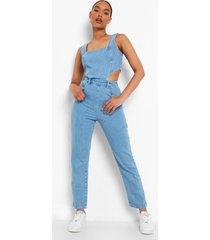 denim jumpsuit met uitsnijding, ice blue