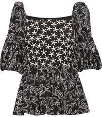 irene, 689 structure stretch blouses short-sleeved multi/patroon stine goya