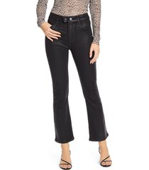 women's paige transcend - claudine coated double button high waist ankle flare jeans, size 26 - black